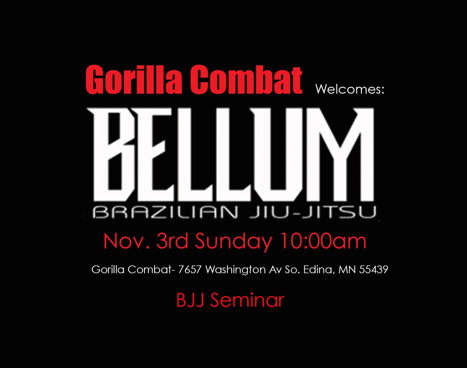 'Bellum BJJ' Seminar Nov.3